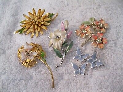 Lot Of 5 Vintage Pastel Peach Pink Yellow Blue Enamel Flower Butterfly Brooches
