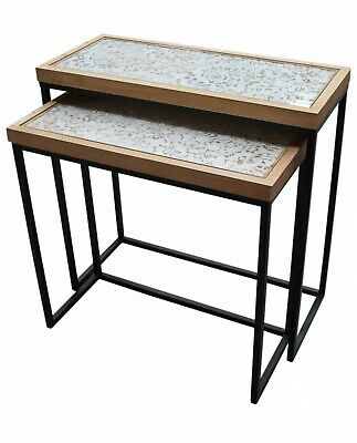 CONSOLE TABLE SET Natural/Black Ornate Nesting Metal Timber Buffet/Hallway/Side