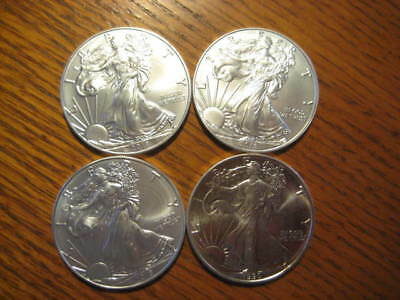 (1) 1990 & (3) 2018 one ounce Silver American Eagle
