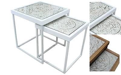 Ornate Nesting SQUARE TABLE SET Whitewash /Natural Timber Glass Side/Coffee/Lamp