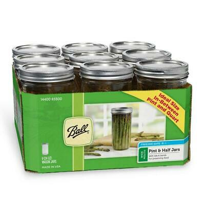 Ball Mason Glass Jars 9pack - Wide Mouth 710ml Metal Lids & Bands - BPA-free