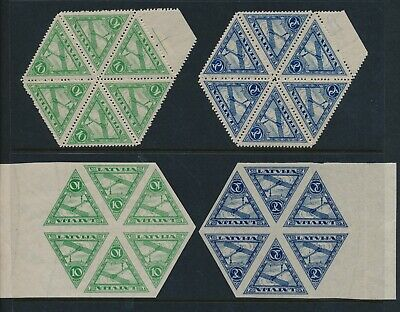 Latvia. 1921. Airmal blocks of 6. Perforated/imperforated. MNH