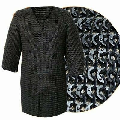 Best Chainmail XXXL Black Flat Riveted Long Sleeve HAUBERK Chain with exp.ship.