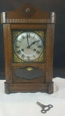 Antique English Made Mechanical Wood Cased Mantle Clock, in working order