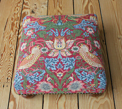 Tapestry Footstool in William Morris Strawberry Thief Red - Made in England