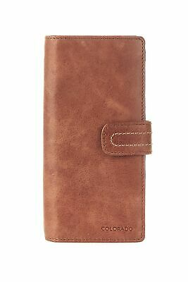 New Colorado Leather RFID N/S Compact Tab Large Womens Purse Wallet Toffee/Multi
