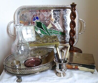 Job Lot Vintage Collectables Silver Plate Brass Glassware Vase Tray Trinket Box