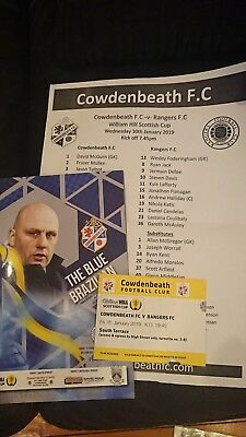 2019 Scottish Cup Cowdenbeath V Rangers Ticket, teamsheet and Programme