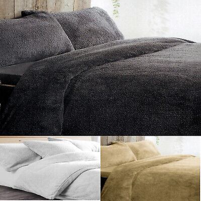 Teddy Bear fleece Duvet Quilt Cover bed set with Pillow Case Thermal warm Cozy