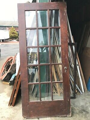 An 492 Antique Beveled Glass Birch entrance door 36 x 84 X1.75