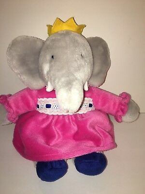 Babar Queen Celeste Plush Gund Elephant Stuffed Animal Toy 11 Pink