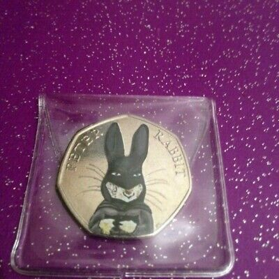 Circulated Coloured  2016 Peter Rabbit As Batman 50P Coin