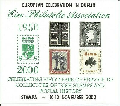 2000 EPA 50th ANNIVERSARY SHEET WITH STAMPA - 10-12 NOVEMBER 2000 OVERPRINT MINT
