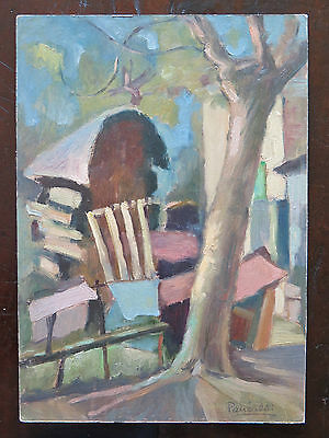 PAINTING ANTIQUE SIGNED painting OIL ON BOARD LANDSCAPE VIEW COUNTRYSIDE p16