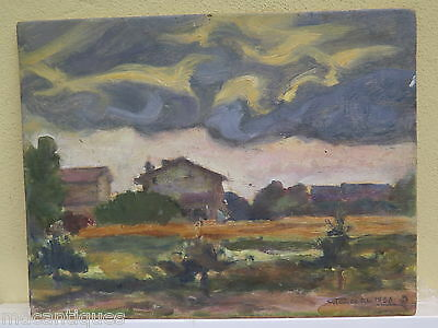 Modern Painting Period 900 Signed Landscape Countryside Painting Oil On Board