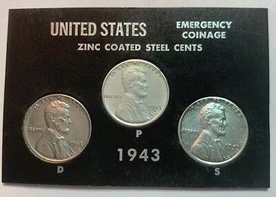 1943 P D S Lincoln Steel Wheat Cent Set Wartime Emergency Issue ACE 288