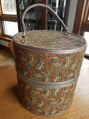 Great Vintage Retro Green Red Gold Zipper Wig Hat Carrier Travel Box Case  13""