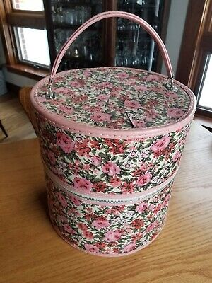Great Vintage Retro Green Red Pink Zipper Wig Hat Carrier Travel Box Case 13""