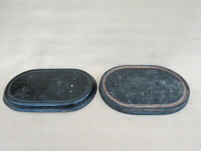 X 2 Antique Ebonised Clock Dome Bases Taxidermy