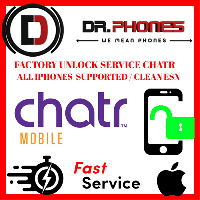 Factory Unlock Service For Chatr Iphone Xs Xr X 8 8+ 7+ 7 6+ 6 6S Clean Unlock