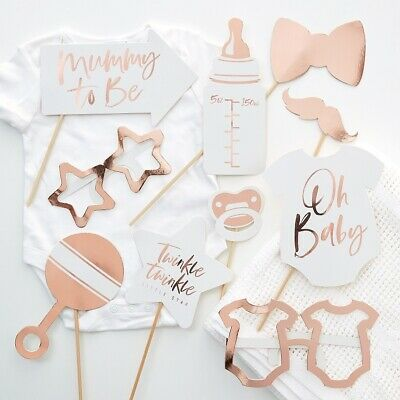 Baby Shower Photo Props Mum To Be Unisex Rose Gold Decorations Accessories Games