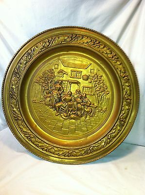 vtg Brass copper Stove pipe cover plate fire place hearth Architectural salvage