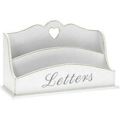 Rustic White Wooden Letter Rack With Cut Out Heart Detail Storage Post Letters
