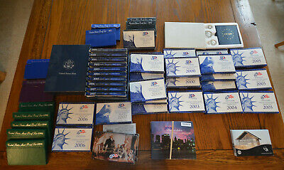 Large lot of 51 US Proof & Mint Sets 1971-2015 some silver -  free shipping!