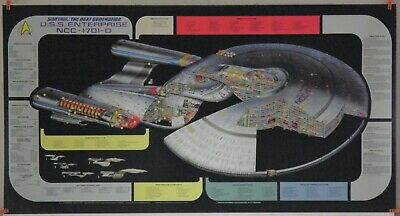 STAR TREK Uss Enterprise Ncc-1701-D Cutaway Crossection Poster Ncc D Schematics on
