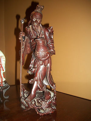 SUPERB!! Old Vntg Oriental Asian Carved Wood Statue Fish Pulling Old Mans Beard