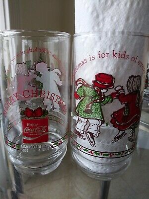 #4 of 4 COCA COLA LIMITED EDITION 1977 Holly Hobbie drinking Glass total of 2