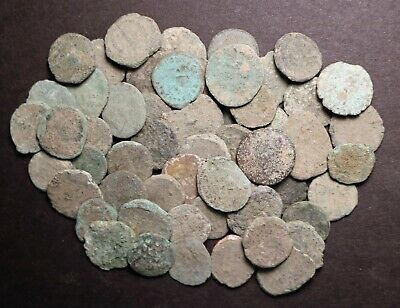 50 Low Quality Uncleaned Late Roman Imperial Coins AE4