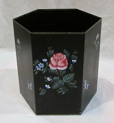 Vintage  black metal tole hand painted floral hexagon trash can