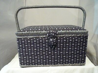 Large Craft Padded Black/grey Sewing Box New With Handle And Compartment Box