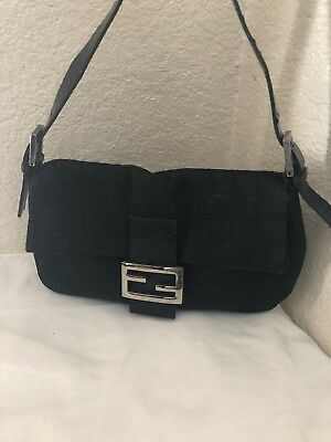 0c5f4ca763 Fendi Zucchino Black Canvas Zucca Baguette Shoulder Hobo Handbag .