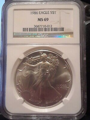 1986 $1 1oz American Silver Eagle MS69 NGC