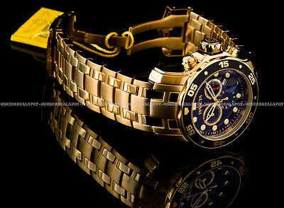 NEW Invicta Pro Diver Scuba 18K Gold Plated Black Dial Chrono S.S Bracelet Watch