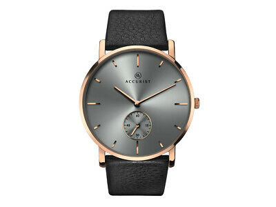 Accurist Men's London Classic Dress Watch Rose Gold Grey Dial Leather Strap 7127