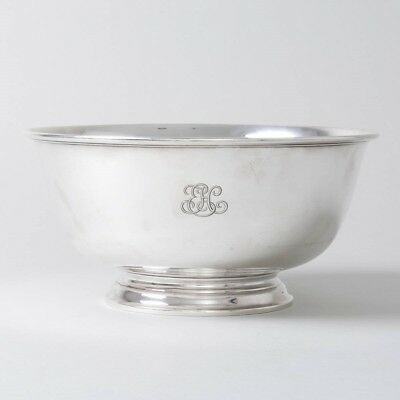 """Tiffany & Co Makers Sterling Silver 'Revere' Bowl Footed 10.5"""" Diam Monogram 'H'"""