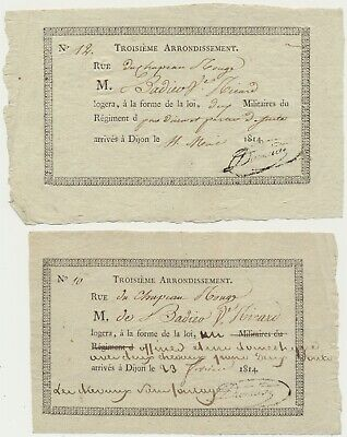 Dijon 1814-Requisition Logements Militaires-2 Pieces (N°2)