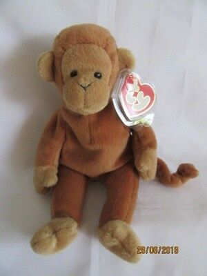 Ty Beanie Baby Bongo Brown Tail Monkey - 3Rd Swing Tag / 2Nd Tush Tag - Mint
