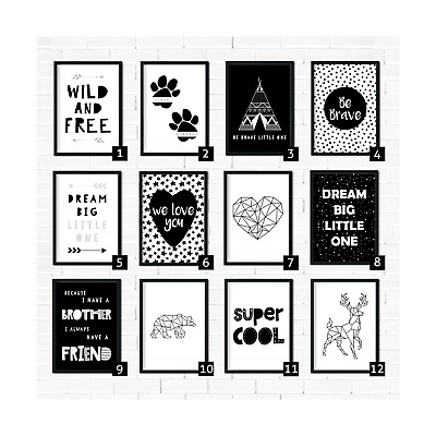 Monochrome Nursery Prints, Black & White Nursery Prints Monochrome Nursery Decor