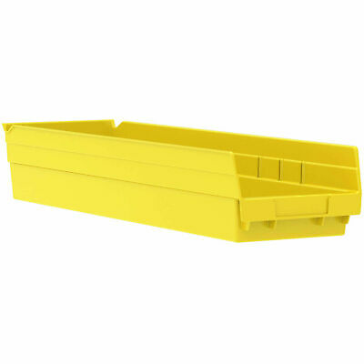 "Akro-Mils 30164 Plastic Shelf Bin Nestable - 6-5/8""W x 23-5/8""D x 4""H Yellow,"