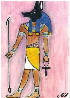 ACEO Original Art Painting God Anubis by Alla M