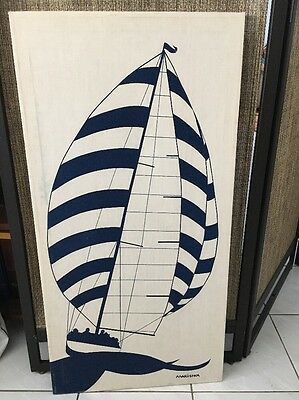 Authentic Vintage Marushka Screen Print of Sail Boat with Wind in Sails-Nice!
