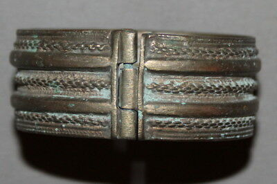 Antique Greek Silver Hinged Hand Made Cuff Bracelet