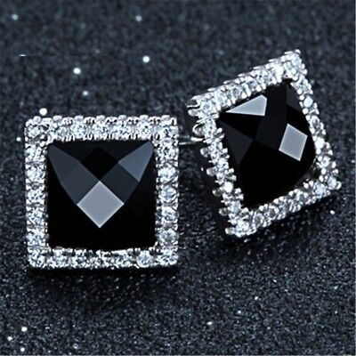 Women Crystal Earring Solid Sterling Silver Black Stone Square Classic Jewelry