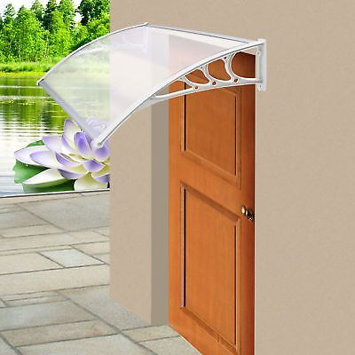 Door Canopy Awning Shelter Roof Front Back Porch Shade Patio Rain Cover White