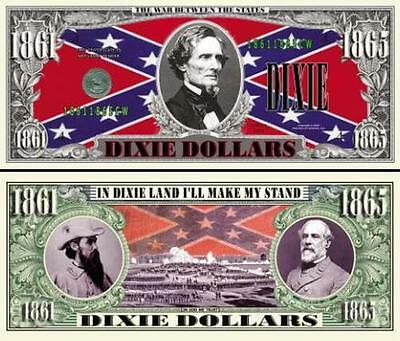 Dixie Land Historical Civil War Dixie Dollar Fun Money Novelty Note +FREE SLEEVE