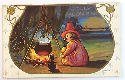 Antique Halloween Postcard Girl Witch Fire Cauldron Brew Black Cat Moon Gold 304